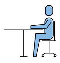 man sitting desk chair work business vector image