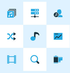 Media icons colored set with albums artist vector