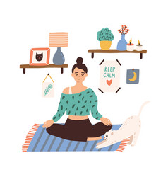Meditating woman sitting in lotus pose with closed vector