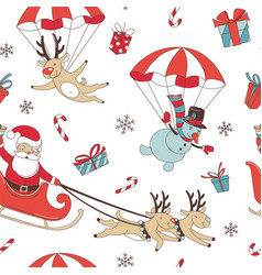 merry christmas doodle seamless pattern background vector image