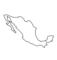 mexico map of black contour curves of vector image