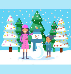 Mother with kid and snowman sculpture snow vector