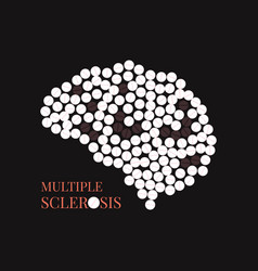 multiple sclerosis poster with brain vector image