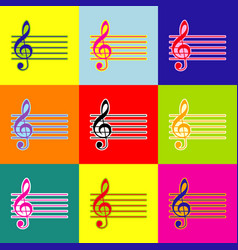 music violin clef sign g-clef pop-art vector image