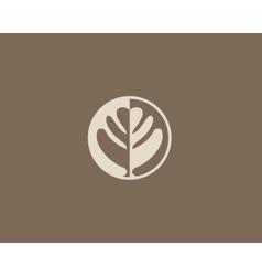 Negative space leaf shape Circle tree logo design vector image