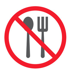No eating glyph icon prohibition and forbidden vector