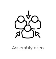 Outline assembly area icon isolated black simple vector