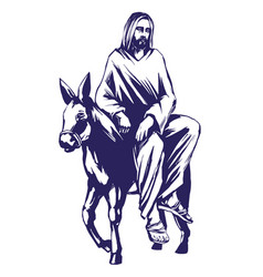 Palm sunday jesus christ rides on a donkey into vector