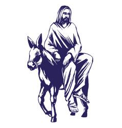 Palm sunday jesus christ rides on a donkey into vector