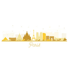 Paris france city skyline silhouette with golden vector