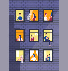 People in night windows of house vector