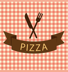 Pizza logo with knife vector
