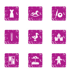 Preschool icons set grunge style vector