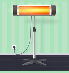 Quartz halogen heater with the glowing lamp vector
