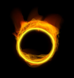 Realistic abstract fire ring on black background vector