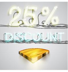 realistic quarter coin represents discoount vector image