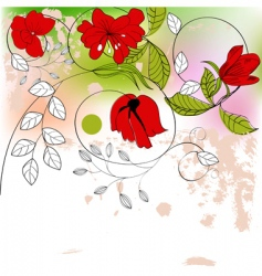 red flowers on colorful background vector image