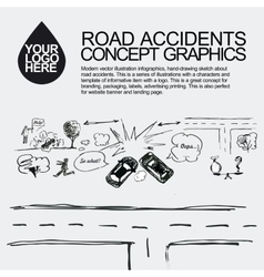 Road accident the car crashed incident vector