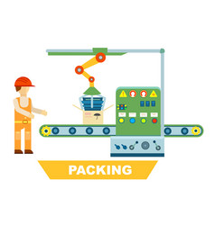 Robotic packing conveyor isolated concept vector
