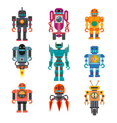 Robots and transformers retro cartoon toys flat vector