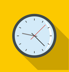Round analog clock face icon flat style vector