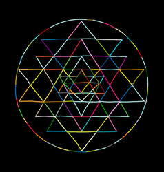 Sacred geometry and alchemy symbol sri yantra vector