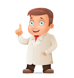 Scientist young cute test-tube icon retro 3d vector