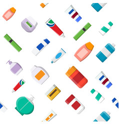 seamless pattern various cosmetic bottles vector image