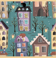 Seamless winter city houses cats and trees vector