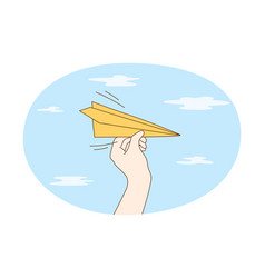 sending paper airplane concept vector image