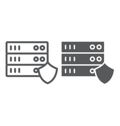 server protection line and glyph icon privacy and vector image