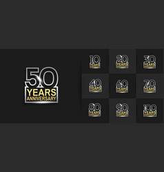 Set anniversary logo style with silver golden vector