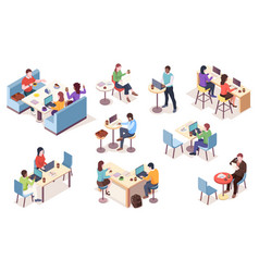 set isolated people work at cafe vector image