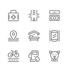 set line icons of public navigation vector image