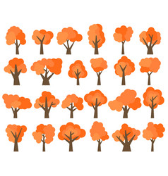 set of twenty four different cartoon red trees vector image
