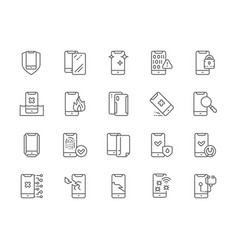 set phone repair line icons mobile spam vector image