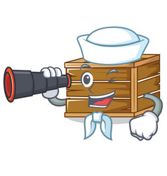 silor with binocular crate mascot cartoon style vector image