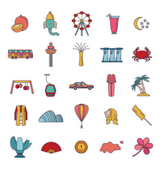 singapore icons set cartoon style vector image