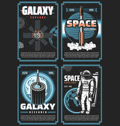 space exploring retro posters galaxy expedition vector image