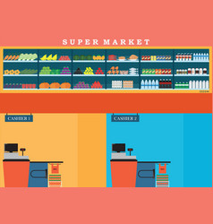 Supermarket with fresh food on shelves and vector