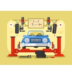 Suspension car design flat vector