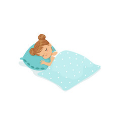 Sweet little girl sleeping on her bed cartoon vector