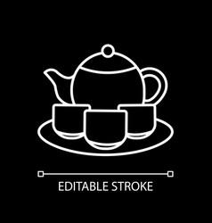 Tea set white linear icon for dark theme vector