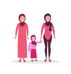 Three generations arab women in hijab standing vector