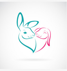 two rabbit head design on white background wild vector image