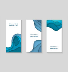 Vertical flyers with blue color paper cut waves vector