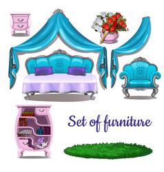 Vintage interior antique furniture isolated vector