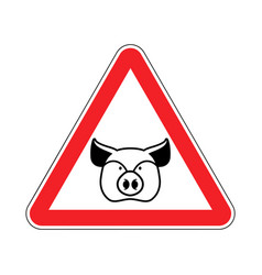 warning pig swine on red triangle road sign vector image