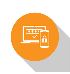 White multi factor two steps authentication icon vector