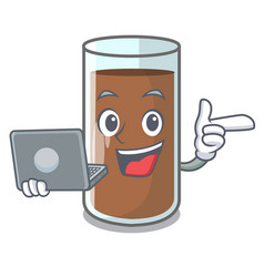 with laptop pouring chocolate milk from bottle vector image